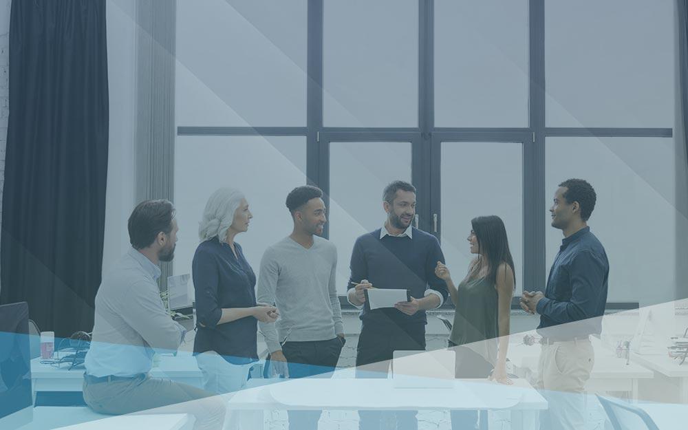 Six team members having meeting.