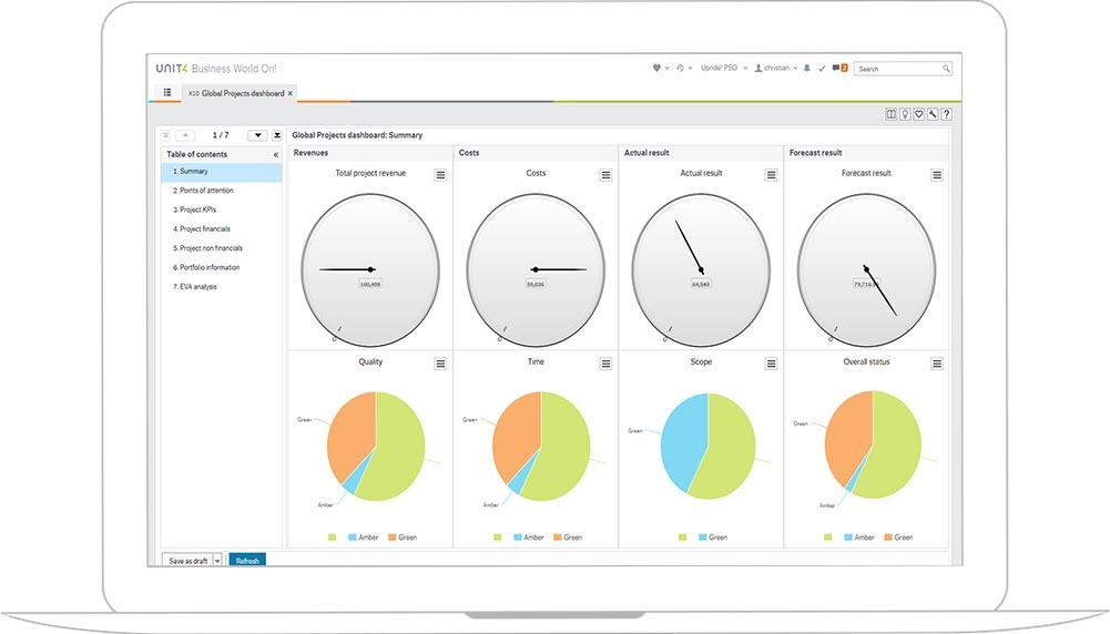 Screenshot of Unit4 ERP