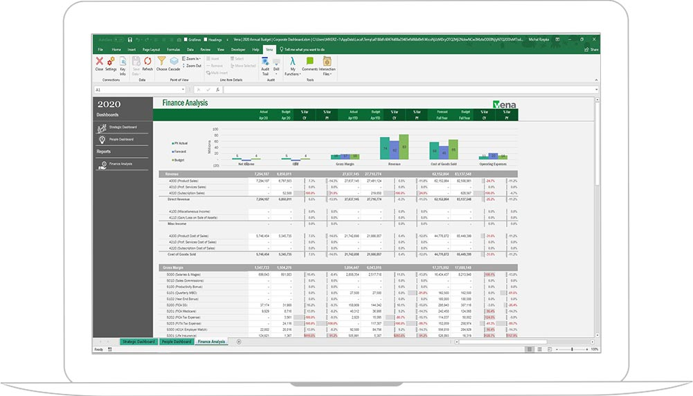 Screenshot of Vena Financial Planning & Analysis
